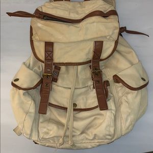 """Tan Canvas & brown """"leather"""" rucksack backpack"""